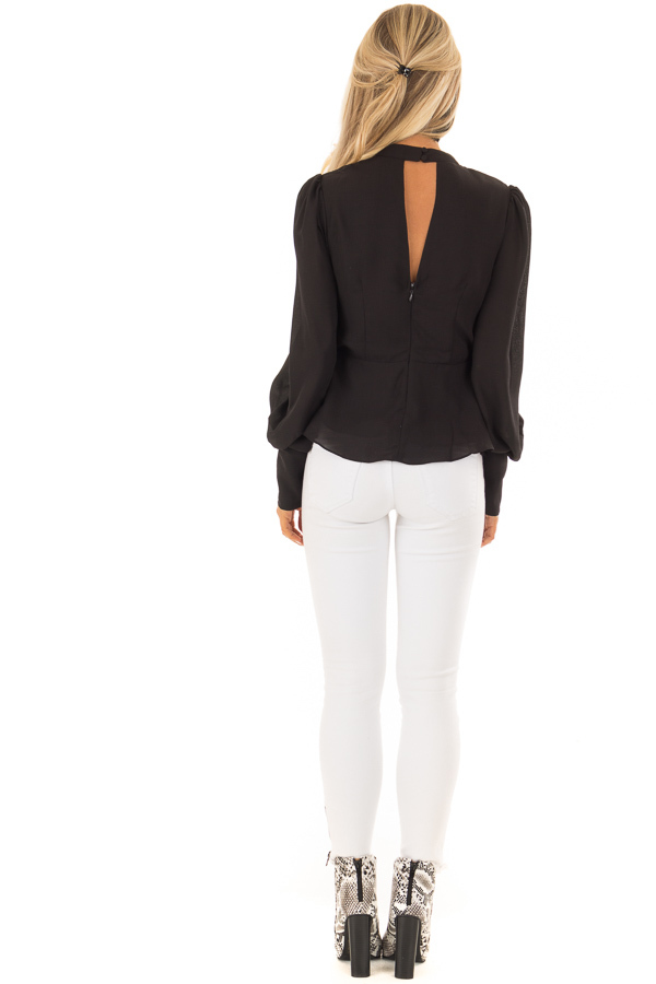 Black Bishop Sleeve Blouse with Front Tie and Choker back full body
