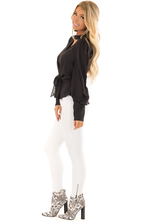 Black Bishop Sleeve Blouse with Front Tie and Choker side full body