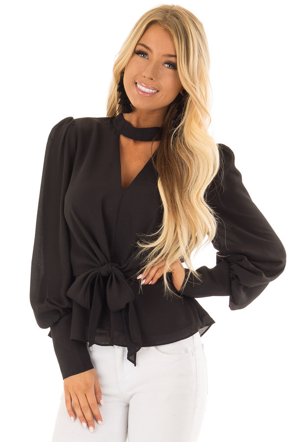 Black Bishop Sleeve Blouse with Front Tie and Choker front closeup