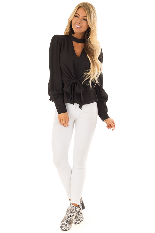 Black Bishop Sleeve Blouse with Front Tie and Choker front full body