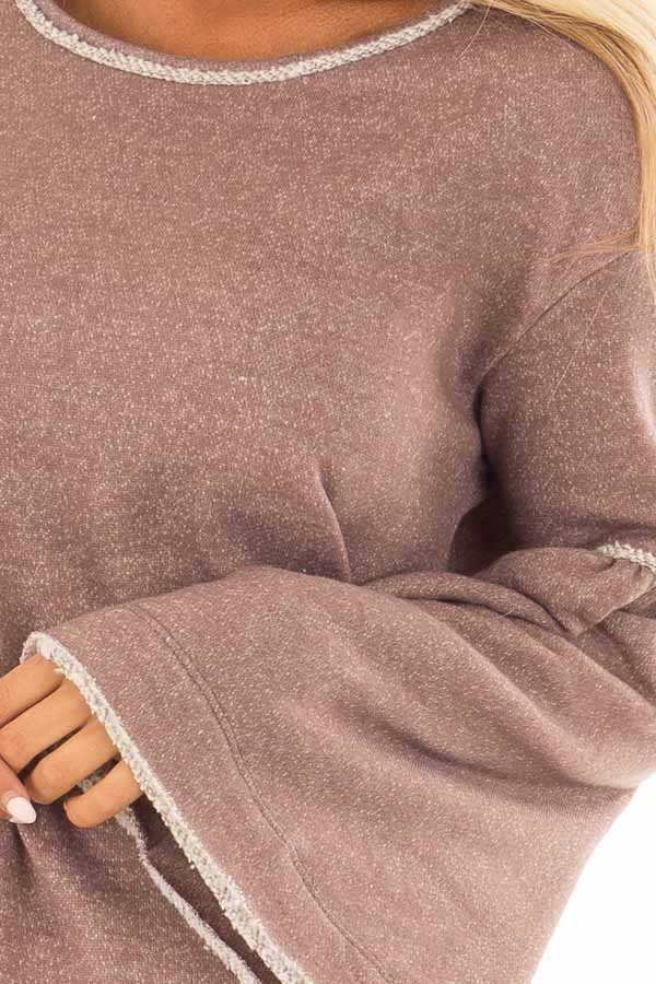 Mocha Comfy Oversized Sweater with Bell Sleeves front detail