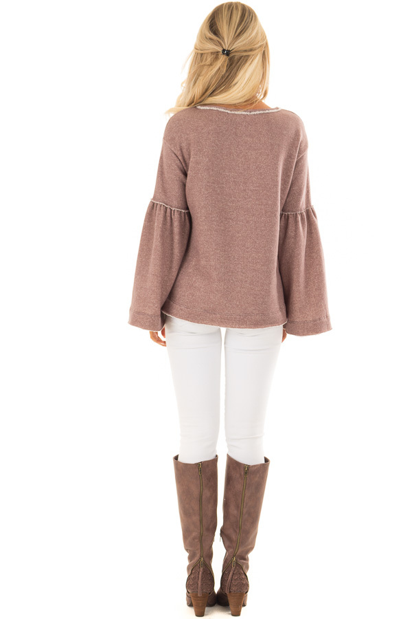 Mocha Comfy Oversized Sweater with Bell Sleeves back full body