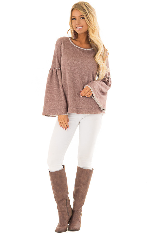 Mocha Comfy Oversized Sweater with Bell Sleeves front full body