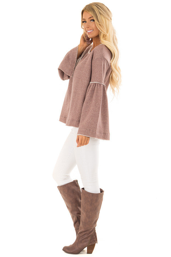 Mocha Comfy Oversized Sweater with Bell Sleeves side full body