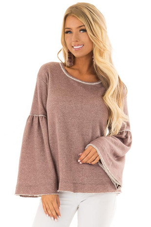 Mocha Comfy Oversized Sweater with Bell Sleeves front closeup