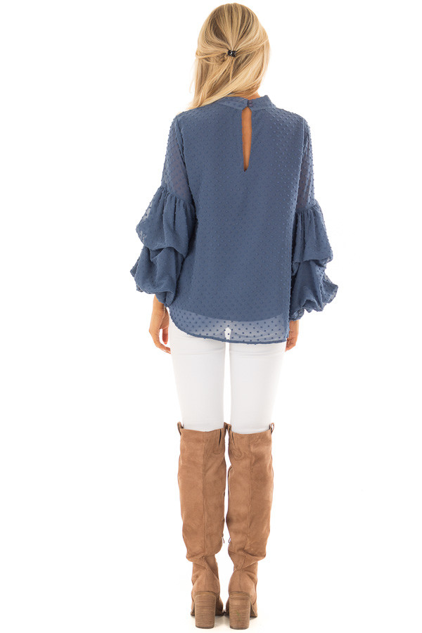 Dusty Blue 3/4 Bubble Sleeve Clipspot Blouse back full body