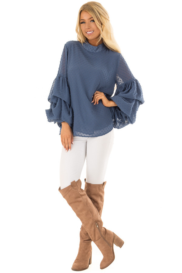 Dusty Blue 3/4 Bubble Sleeve Clipspot Blouse front full body