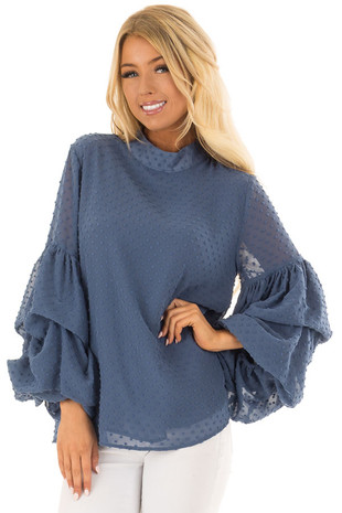 Dusty Blue 3/4 Bubble Sleeve Clipspot Blouse front detail