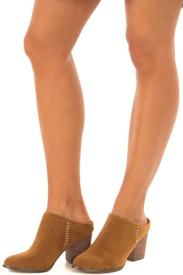 Ginger Block Heel Backless Mules with Stitching Detail front side view