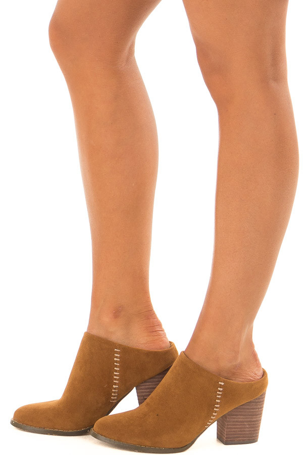 Ginger Block Heel Backless Mules with Stitching Detail side view