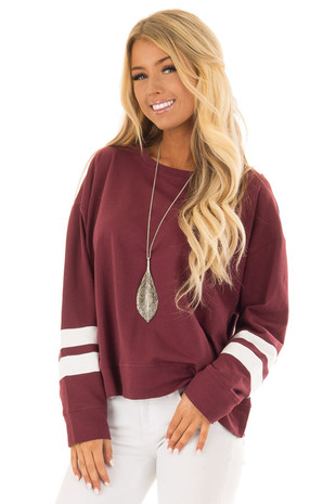 Wine Long Sleeve Sweatshirt with Cream Sleeve Stripes front closeup