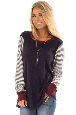 Navy and Burgundy Sweater with Contrast Long Sleeves front closeup