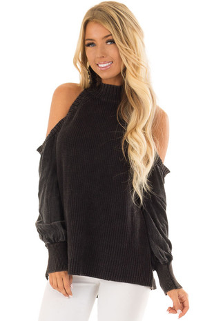 Charcoal Sweater with Cold Shoulders and Bishop Sleeves front closeup