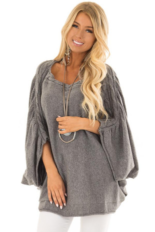 Fossil Grey Oversized Off the Shoulder Sweater front closeup