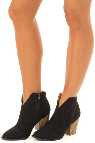 Onyx Cut Out Booties with Brown Stacked Block Heel front side