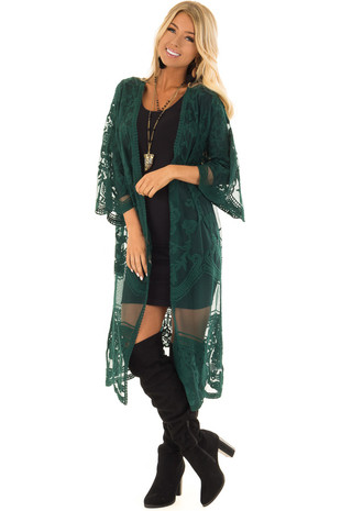 Sea Green Sheer Kimono with Lace and Crochet Detail front full body