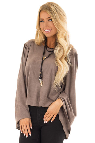 Warm Taupe Faux Suede Top with Long Bell Sleeves front closeup