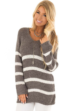 Steel Grey and Ivory Striped V Neck Crochet Sweater front closeup