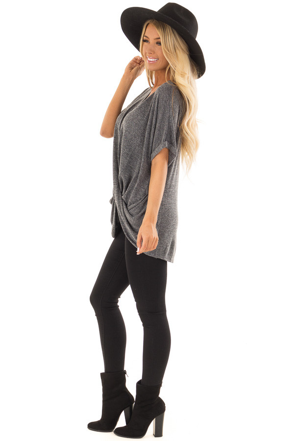 Charcoal V Neck Knit Top with Front Cross Hemline side full body