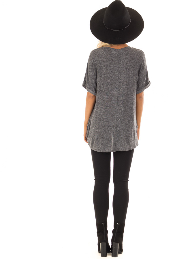 Charcoal V Neck Knit Top with Front Cross Hemline back full body