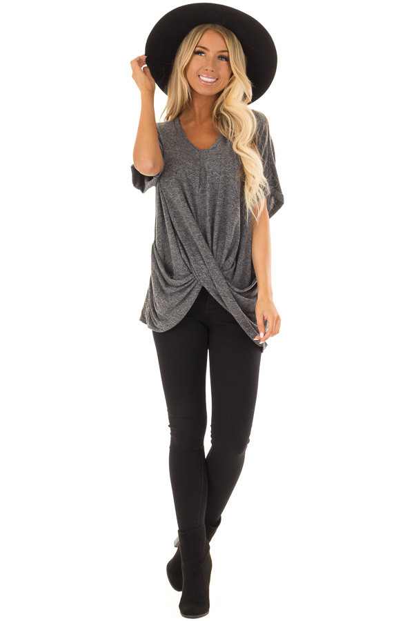 Charcoal V Neck Knit Top with Front Cross Hemline front full body