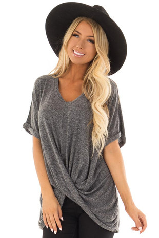 Charcoal V Neck Knit Top with Front Cross Hemline front closeup