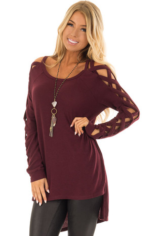 Wine High Low Top with Criss Cross Sleeve Detail front closeup
