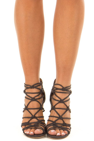 Dark Grey Faux Suede Strappy High Heels with Knot Details front