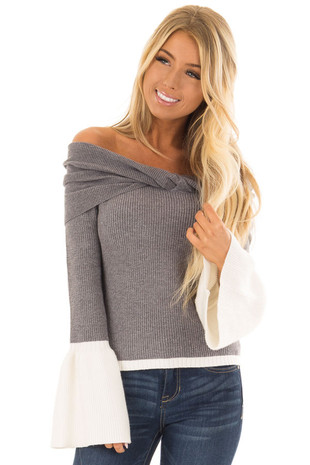 Stormy Grey Off the Shoulder Top with Cream Contrast front closeup