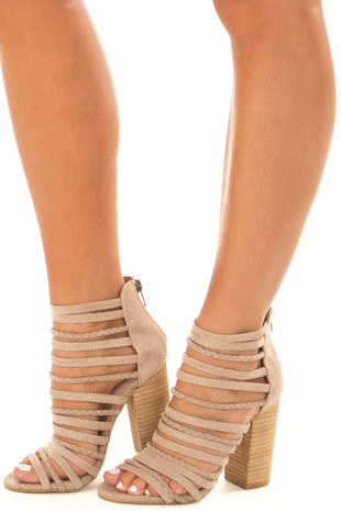 Taupe Faux Suede Multiple Strap High Heels front side