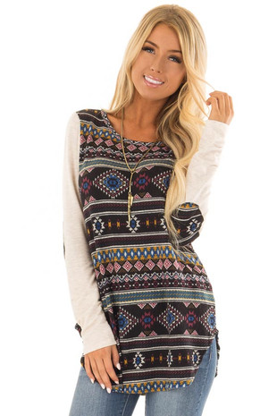 Black Aztec Inspired Print with Oatmeal Raglan Sleeves front closeup