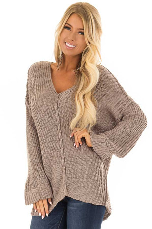 Taupe Long Sleeve V Neck Sweater front closeup