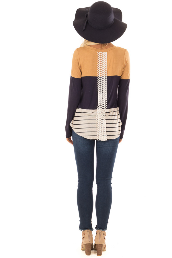 Mustard Color Block Long Sleeve Top with Crochet Back Detail back full body