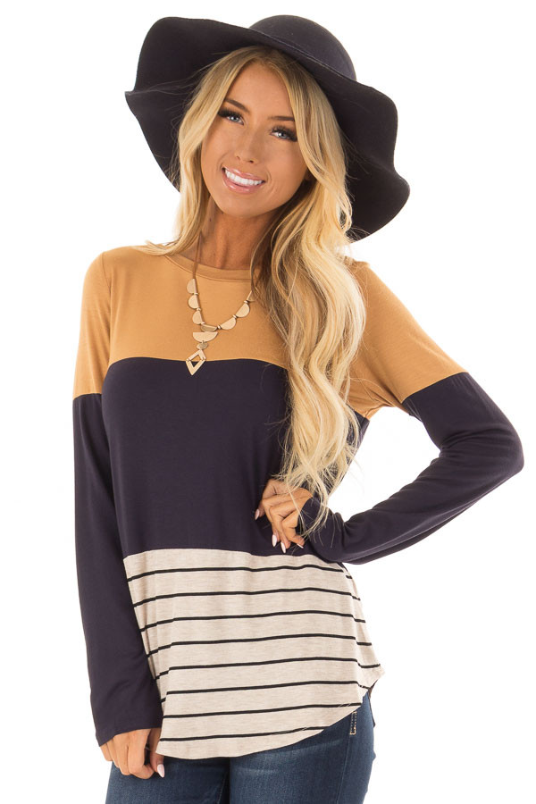 Mustard Color Block Long Sleeve Top with Crochet Back Detail front closeup