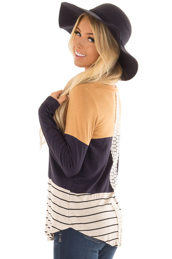Mustard Color Block Long Sleeve Top with Crochet Back Detail side closeup