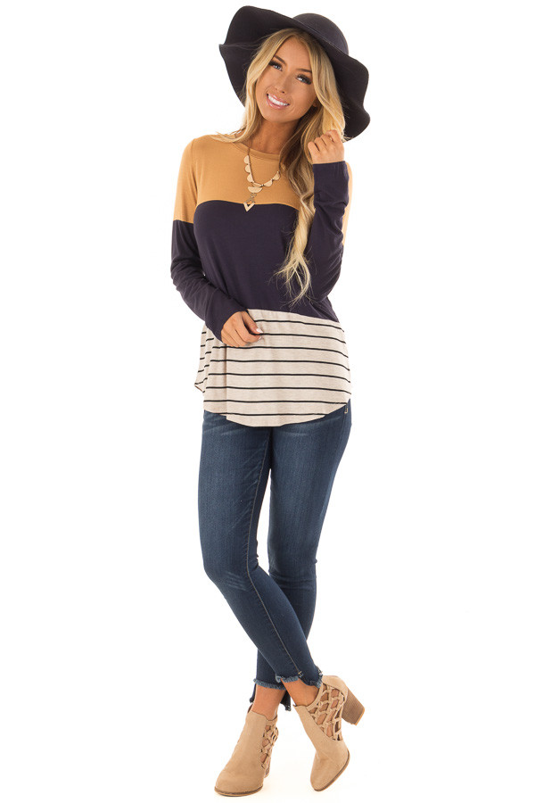 Mustard Color Block Long Sleeve Top with Crochet Back Detail front full body