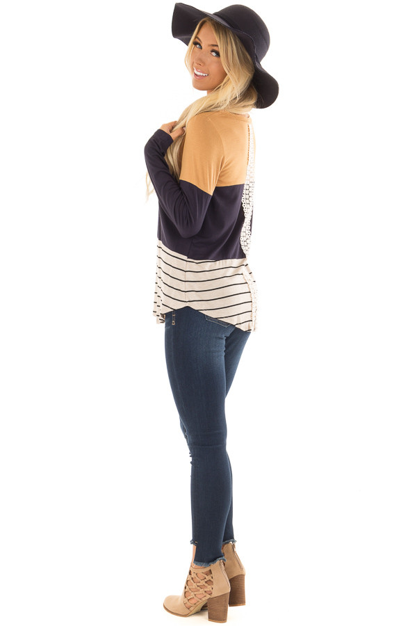 Mustard Color Block Long Sleeve Top with Crochet Back Detail side full body