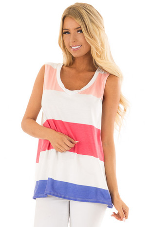 Multi Color Striped V Neck Oversized Tank Top front closeup