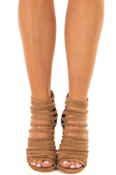 Camel Faux Suede Multiple Strap High Heels front