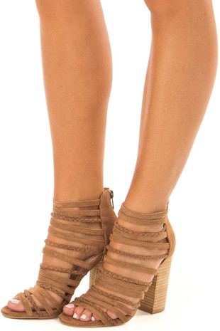 Camel Faux Suede Multiple Strap High Heels front side