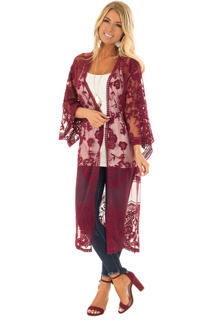 Wine Sheer Kimono with Lace and Crochet Detail front full body
