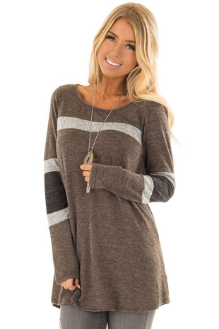 Olive Sweater with Grey and Charcoal Color Block Stripes front closeup