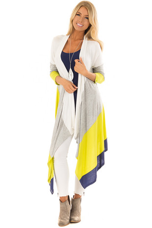 Lime Color Block Long Cardigan front full body
