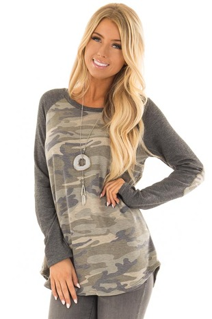 Olive Camo Long Sleeve Raglan Top with Elbow Patches front closeup