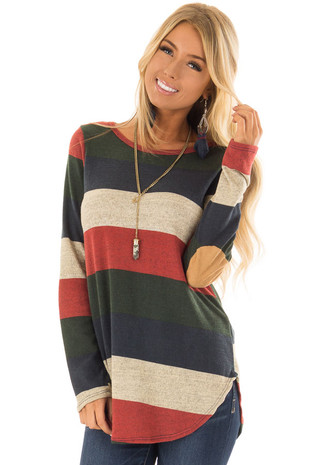 Rust and Olive Striped Long Sleeve Top with Elbow Patches front closeup