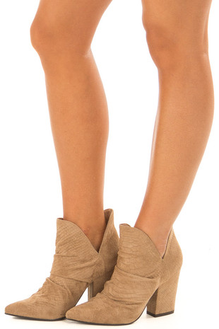 Warm Taupe Suede Snake Skin Heeled Booties front side
