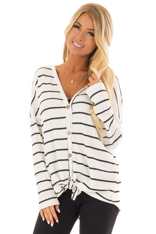 Ivory and Black Striped Long Sleeve Top with Front Tie front closeup