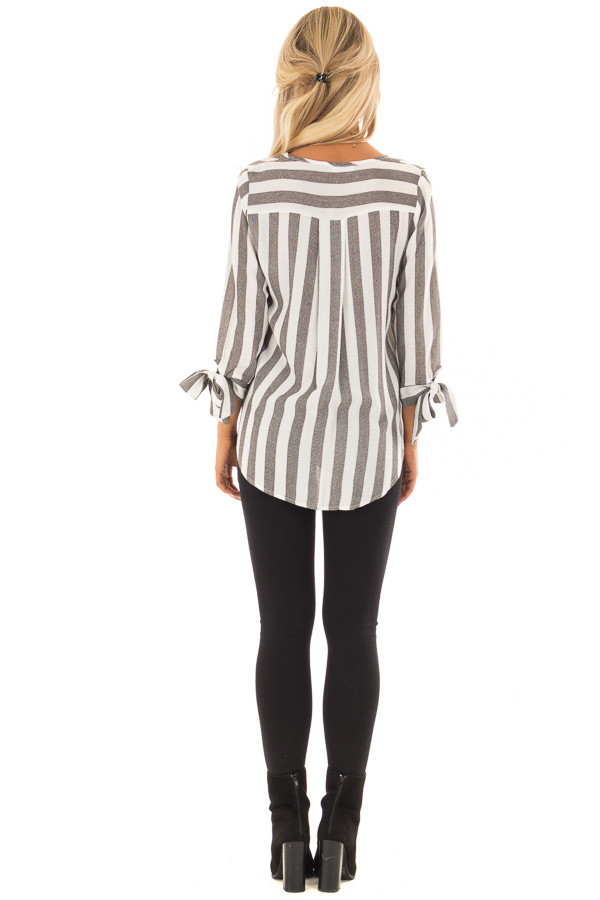 Charcoal and White Striped Top with Tie Detail on Sleeves back full body