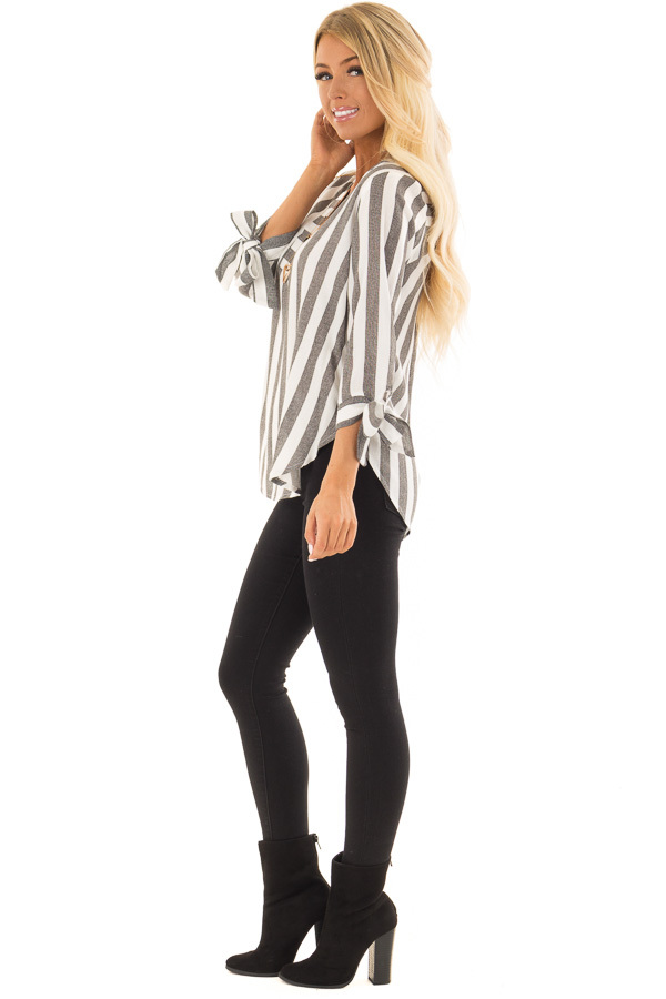 Charcoal and White Striped Top with Tie Detail on Sleeves side full body
