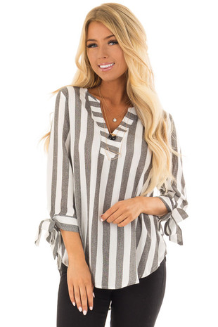 Charcoal and White Striped Top with Tie Detail on Sleeves front closeup